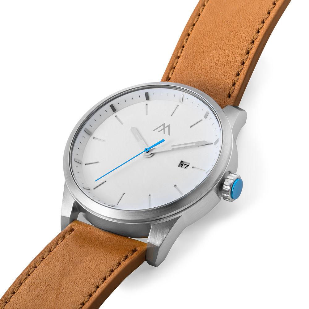 Odysseus Day Date Minimalistisch camel kleur lederen horlogeband - 1