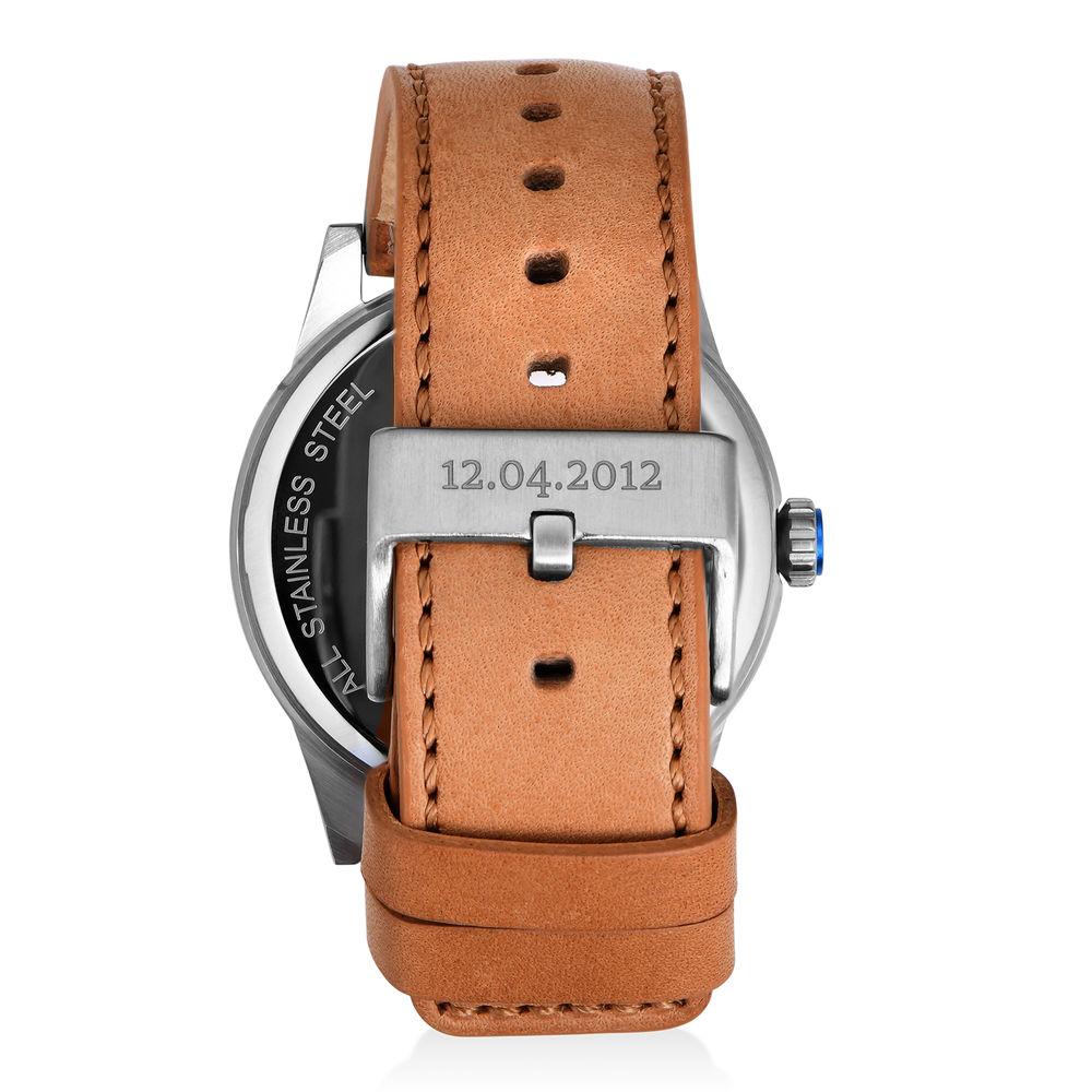 Odysseus Day Date Minimalistisch camel kleur lederen horlogeband - 2