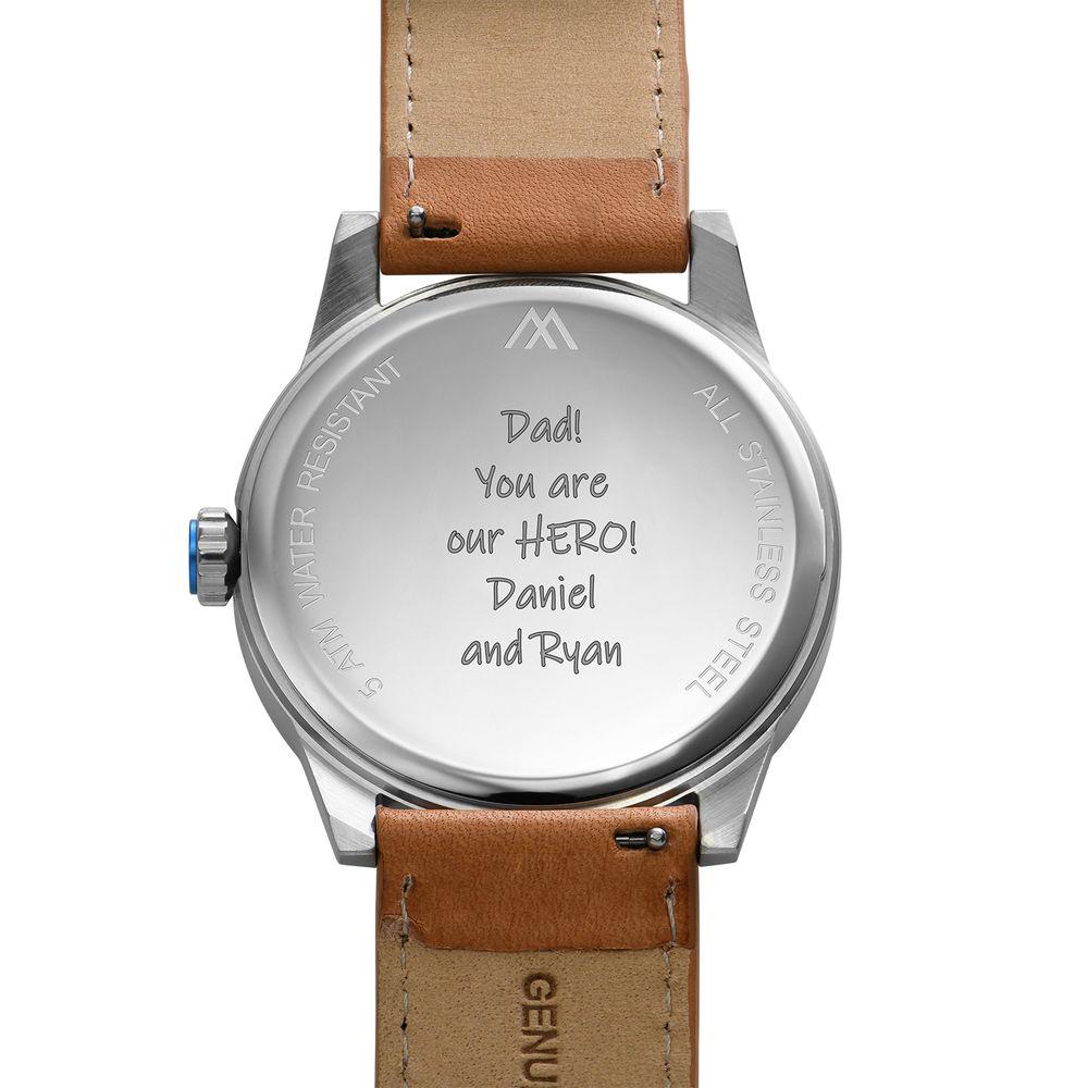 Odysseus Day Date Minimalistisch camel kleur lederen horlogeband - 4