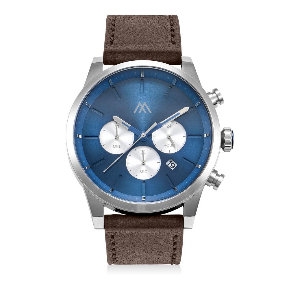 Quest chronograaf kwarts horloge met lederen armband - blauw
