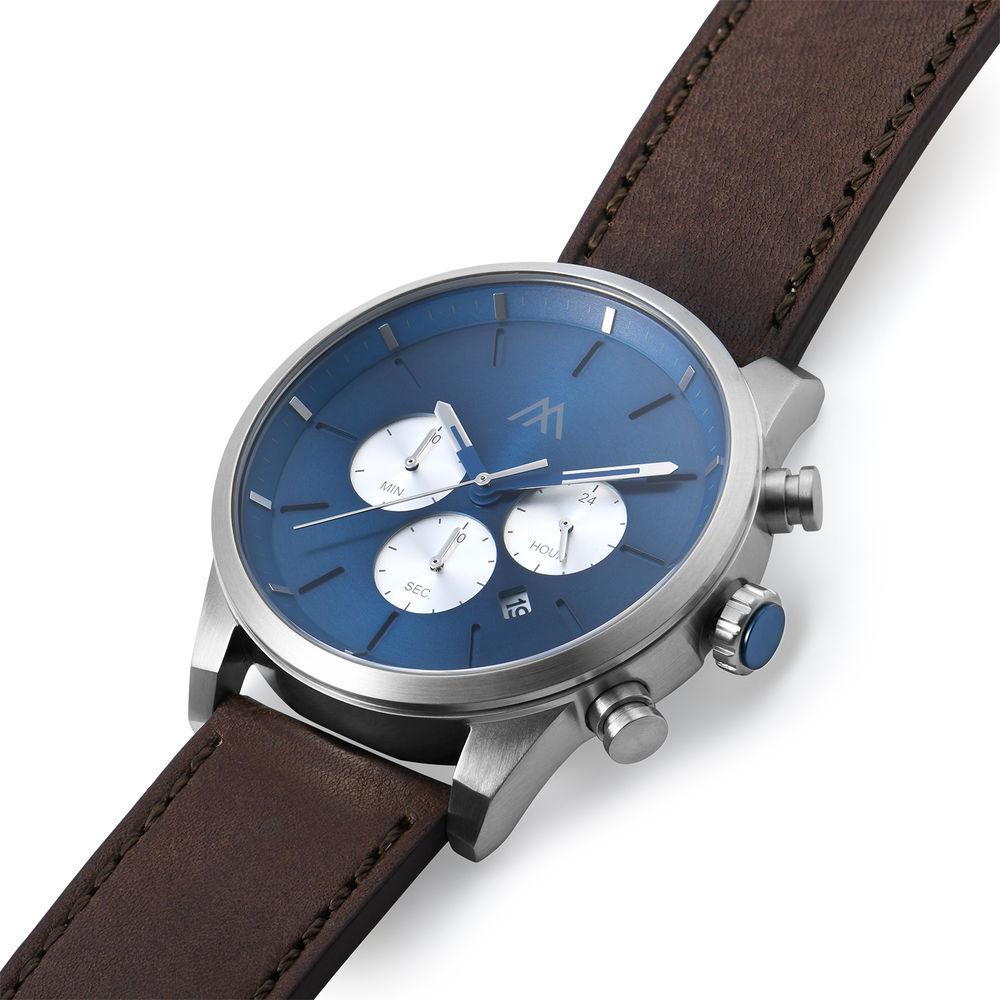 Quest chronograaf kwarts horloge met lederen armband - blauw - 1