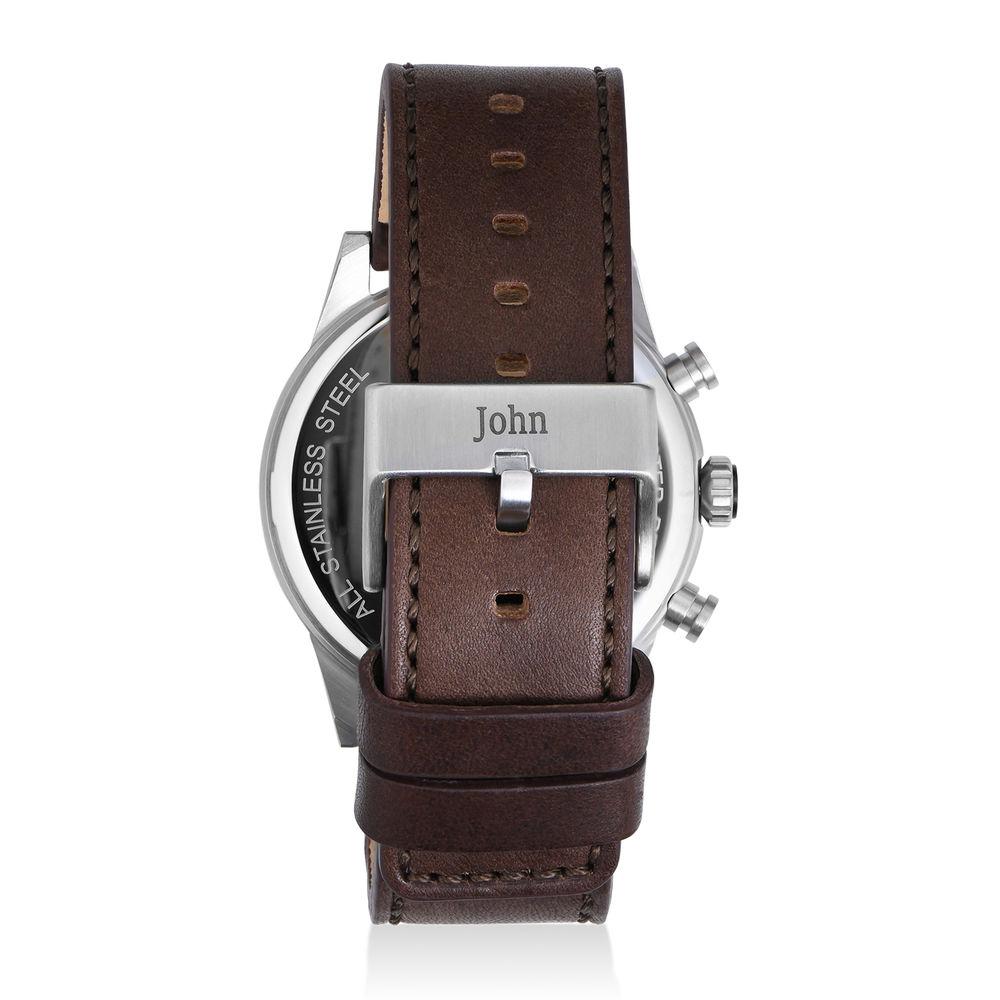 Quest chronograaf kwarts horloge met lederen armband - blauw - 2