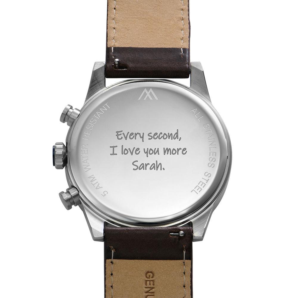 Quest chronograaf kwarts horloge met lederen armband - blauw - 4