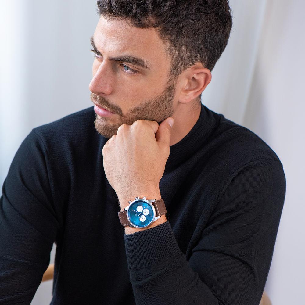 Quest chronograaf kwarts horloge met lederen armband - blauw - 5