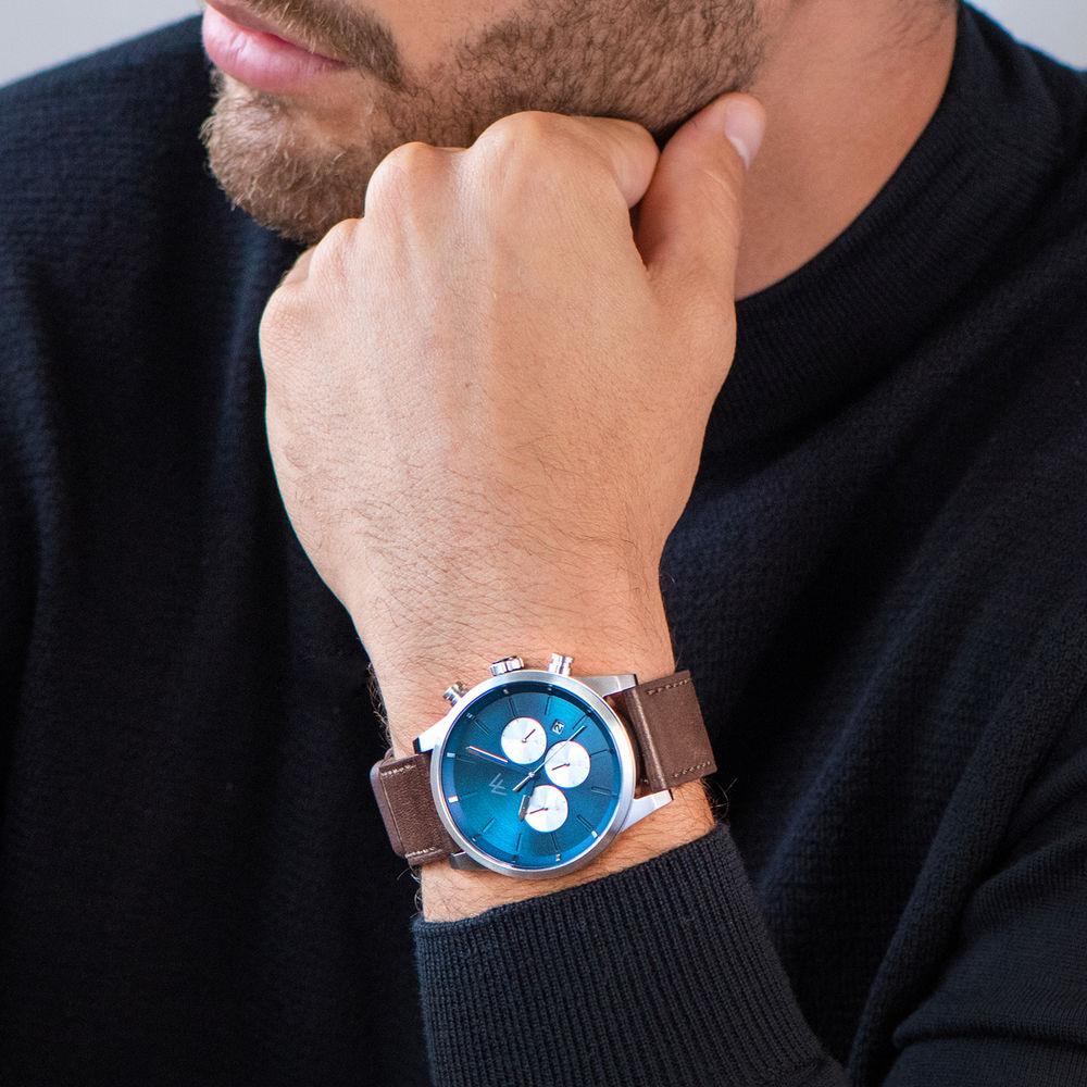 Quest chronograaf kwarts horloge met lederen armband - blauw - 6