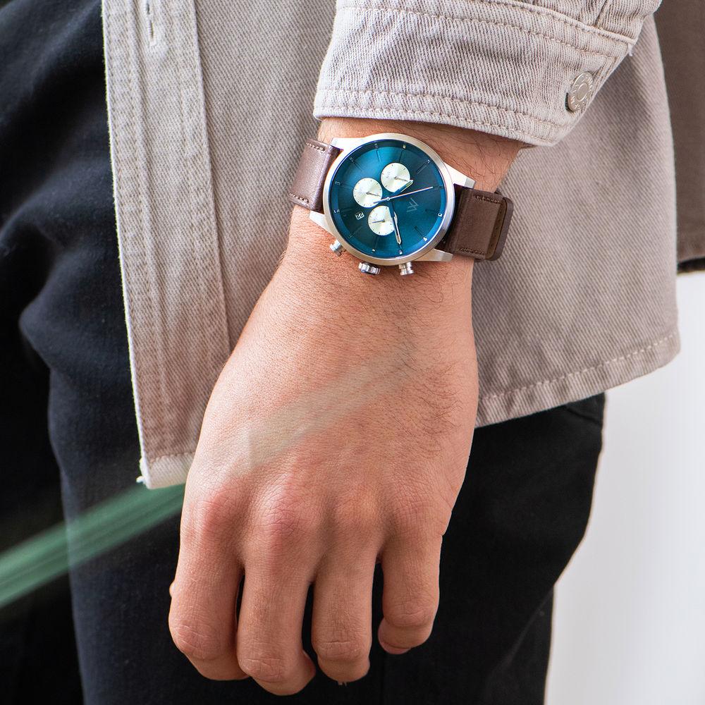 Quest chronograaf kwarts horloge met lederen armband - blauw - 7
