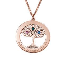 Rosé-vergulde ronde levensboom ketting met geboortestenen product photo