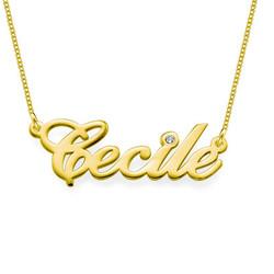14k Goud & Diamant Naam Ketting Productfoto