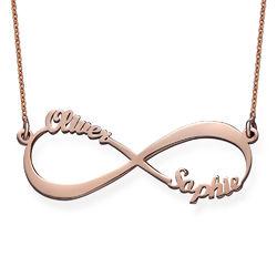 Infinity Twee Namen Ketting in Rosé-Goudkleur Productfoto