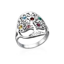 Stamboom Geboortesteen Ring in 925 Zilver product photo