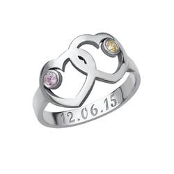 Hart Moeder Ring met Geboortestenen Productfoto