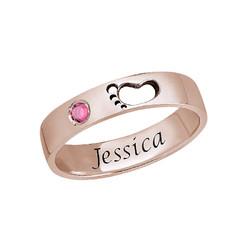 Babyvoetjes Ring met Gravering Binnenin in Rosé-Vergulde uitvoering Productfoto
