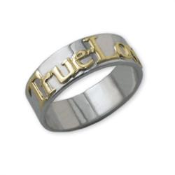 14k Gouden Text op 925 Zilveren Belofte Ring Productfoto
