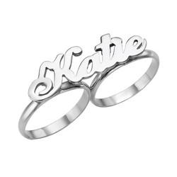 Twee Vingers Naam Ring in 925 Zilver Productfoto