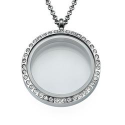 Zilverkleurige Ronde Locket met Kristallen Productfoto