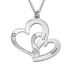 Sterling Zilveren ketting met Twee Gegraveerde Hartjes en Diamanten Productfoto
