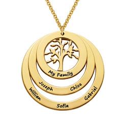 Familie Cirkel Ketting met Hangende Levensboom in 18K Goud Verguld Productfoto