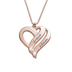 Rosé-vergulde twee harten eeuwig verenigd-ketting met diamanten Productfoto