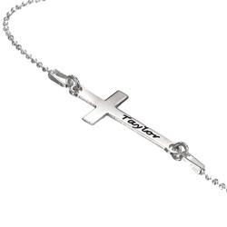 Zilveren (0.925) Diagonale Kruis Ketting Productfoto