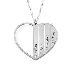 Zilveren Mama ketting met diamanten Productfoto