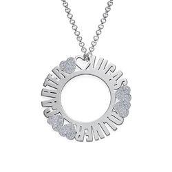 Cirkelvormige, Sterling Zilveren Naamketting met Diamanteffect Productfoto