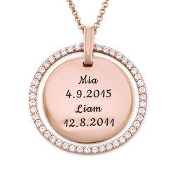 Gegraveerde Moeder Disc Ketting met Kristallen in Rosé-Vergulde Productfoto