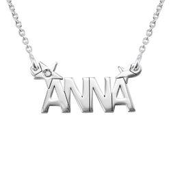 Zilveren sterren naamketting met diamant Productfoto