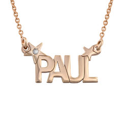 Star Name Necklace with Diamond in Rose Gold Plating Productfoto
