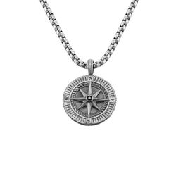 Heren ketting met kompashanger in Sterling zilver product photo