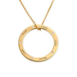 Gepersonaliseerde ring mama ketting met diamant in vergulde uitvoering Productfoto