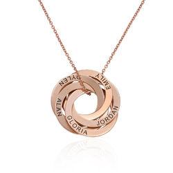 Rosé-vergulde ketting met 5 Russische ringen Productfoto