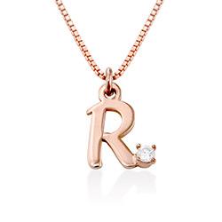 Initiaal Ketting met Diamanten in 18k Rosé Goud Verguld Sterling Productfoto