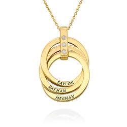 Russische Ring Ketting met Diamanten in 18K Goud Verguld Productfoto