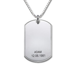 Zilveren (0.925) Gepersonaliseerde Dog Tag Ketting product photo