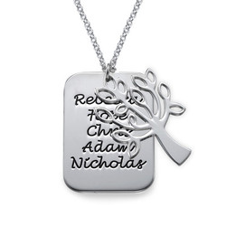 Familie Dog Tag Ketting Stamboom Bedel in 925 Zilver Productfoto