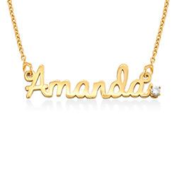 Cursieve Naam Ketting in 18K Goud Verguld met Diamant Productfoto