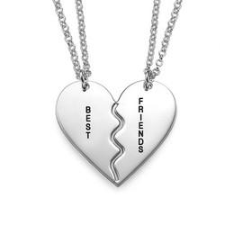 Best Friends Breekbare Hart Ketting in 925 Zilver Productfoto