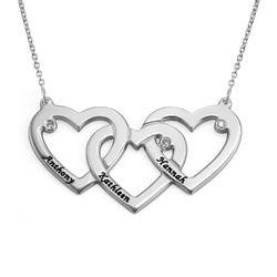 Verweven Drie Harten Ketting voor Mama met Diamanten in 925 Zilver Productfoto