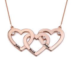 Verweven Drie Harten Ketting voor Mama met Diamanten in 18K Rosé Goud Productfoto