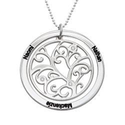 Sterling Zilveren Stamboom-Geboorteketting met Diamanten Productfoto