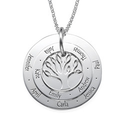 Multi Familie Stamboom Ketting in 925 Zilver Productfoto