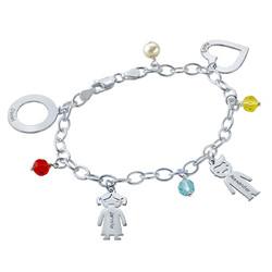 Bedels en Geboortestenen Armband in 925 Zilver Productfoto