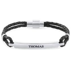 Heren armband met naam in RVS en zwart leer Productfoto