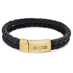 Gegraveerde Heren Armband in Zwart Leer in 18K Goud Verguld Productfoto