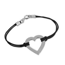 Hart Armband aan Koord in 925 Zilver product photo