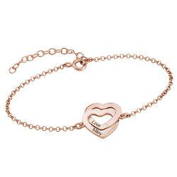 18K Rosé-vergulde Armband met Ineengestrengelde Harten en Diamanten Productfoto