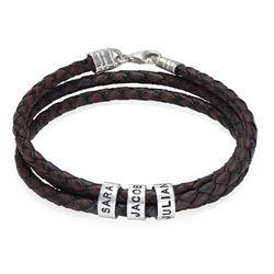 Gevlochten bruine leren armband voor heren met kleine Productfoto