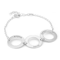 Gepersonaliseerde Sterling zilveren gegraveerde armband met 3 rondjes Productfoto