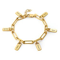 Chain Link Armband met gepersonaliseerde bedeltjes in Gold Vermeil Productfoto