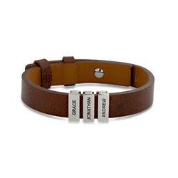 Bruine leren armband voor heren met gepersonaliseerde zilveren kralen Productfoto
